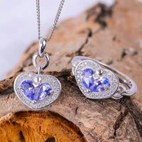 свадебные наборы из танзанита оптовых-CoLife Jewelry romantic tanzanite heart jewelry set natural tanzanite silver ring pendant set solid silver