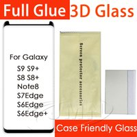 Wholesale phone protector cases - For Samsung Galaxy S9 Plus S8 S8Plus Note8 S7edge Note 8 S7 Edge 3D Full Glue adhensive Case Friendly Tempered Glass Phone Screen Protector