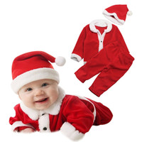 Wholesale clothing sets claus online - Xmas Baby girls boys outfits children Santa Claus top pants with hat set fashion Christmas kids Clothing Sets C5131
