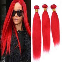 светло-красные волосы оптовых-Светло-красный бразильский прямые человеческие волосы пучки 3 шт. лот чистый цветной Красный девственные волосы ткать уток расширения 300 г смешанные длина