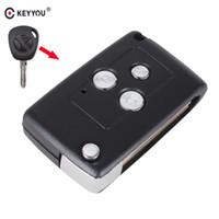 tapa remota modificada al por mayor-Diseño 3 Botones Modificado Flip Plegable Reemplazo del coche En blanco Shell clave para Lada Remote Case Cover Fob