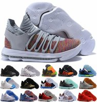 Wholesale kd shoes for men low cut for sale - Group buy 2018 Zoom KD Anniversary PE BHM Red Oreo Triple Black Basketball Shoes For Men KD10 Elite Low Kevin Durant Athletic Sports Sneakers