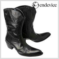 botas negras de cuero para hombre al por mayor-Botas negras de moda para hombre vintage punta estrecha moda masculina hasta la rodilla botas altas tacones altos crin de cuero genuino botas hombres