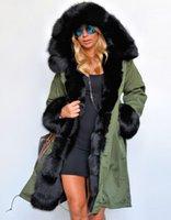 kürk kaplı parka ceket bayanlar toptan satış-Yeni Kış Palto Kadınlar Ceketler Gerçek Büyük Rakun Kürk Yaka Kalın Pamuk Yastıklı Astar Bayanlar Aşağı Parkas Artı Boyutu S-2XL