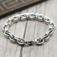 925 thai großhandel-Retro Ketten Herrenarmbänder 925 Sterling Silber Armband Thai Silber Schmuck Grobe Punk Style Persönlichkeit Einfache Weibliche