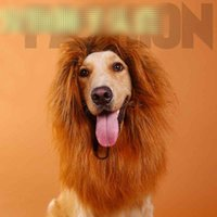 Wholesale fancy ornaments - 4 Color Hair Ornaments Pet Costume Cat Halloween Clothes Fancy Dress Up Lion Mane Wig for Large Dogs brown,dark brown,white,black B