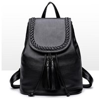 Wholesale pretty black backpacks for women resale online - Black Backpack Pretty Style PU Leather Women Black Inches Backpack Fashion Female Casual Girls School Shoulder Bags For Women s Backpack