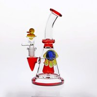 Wholesale red burner - 18cm Monster-Eye Red Glass Bongs match Duck-Nail&Bowl 14.4mm Dab Rig Glass Oil Burner Two Function Bongs Thicken Bottom Glass Pipes Cheapest