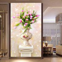 tulpe blumen leinwand großhandel-VOLL 5D Blumen Tulip Vase Handarbeit Diamant Stickerei Mosaik Wohnkultur DIY Diamant Malerei Kreuzstich 40x70 cm Geschenk Leinwand