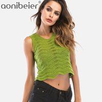 Wholesale Chevron L - Aonibeier 4 Colors Women Knit Tanks Summer Slim Sleeveless Chevron Textured Scallop Edge Crop Tops Fashion Pointelle Detail Tops