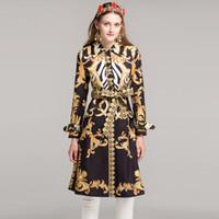 xxl uzun trençkot toptan satış-Kadın uzun kollu moda uzun palto yüksek kalite sonbahar / kış 2018 tasarımcı Sashes Baskı Vintage Ince Siper XXL Y1891708