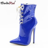 Wholesale high heel 18cm - Wonderheel Hot Extreme high heel 18cm Stiletto Heel sexy fetish ankle boots red patent LACE UP pointed toe fashion sexy boots