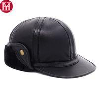 şapka kapağı erkek deri toptan satış-Yeni Kış Erkekler 100% Doğal Gerçek Koyun Deri Kapaklar Erkek Sıcak Gerçek Koyun Deri Beyzbol Şapkaları Kulaklar Koruma Kubbe Kapakları