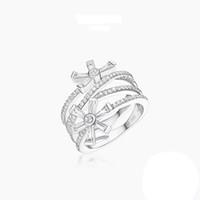 moda tam parmak yüzükleri toptan satış-Moda Gümüş Takı 3 Katmanlar Kar Tanesi Yıldız Yüzük Kadınlar için Tam Zirkon Açacağı Kübik Zirkonya Parmak Bandı Damla nakliye