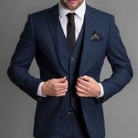 mavi damat tuxedo toptan satış-Lacivert Örgün Düğün Erkek Takım Elbise 2018 Yeni Üç Parçalı Çentikli Yaka Custom Made İş Damat Düğün Smokin (Ceket + Pantolon + Yelek)