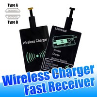 Wholesale Galaxy S3 Wireless Charger - Universal Qi Wireless Charger Receiver for iPhone 7 6S 6 5 Micro V8 Fast Charging Receivers for Samsung Galaxy S3 S4 S5