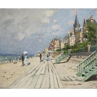 ingrosso dipinti a mano da spiaggia-Famosi dipinti ad olio di Claude Monet riproduzione dipinta a mano Beach at Trouville Canvas art