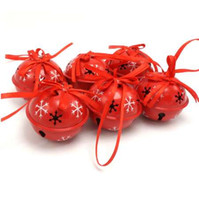pequenas decorações de árvore de natal venda por atacado-Decoração de natal 6 pcs ferro vermelho pequeno sino para casa floco de neve 50mm jingle bell decoração da árvore de natal suprimentos