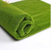 ingrosso tappeto erboso artificiale-Morbido tappeto quadrato Dimensioni 100cm * 100cm tappeto erboso artificiale erba verde hotel negozio giardino decorazione della parete di nozze erba finta tappeto erboso