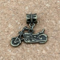 ingrosso antichi motocicli-100 pz / lotto Ciondola Bronzo Antico moto Charms in lega Big Hole Beads Fit Braccialetto di Fascino Europeo Gioielli 24.5x 23.5mm A-314a