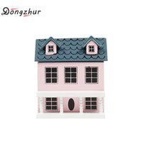 Wholesale Mini Dolls For Dollhouse - Dongzhur Little House Model Mini 1:12 Dollhouse Accessories For Doll Play Dollhouse Green Light Pink Top Lovely Villa Dropship