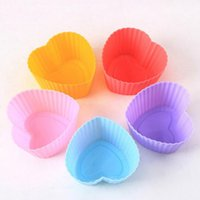 Wholesale 10pcs Silicone Mold Heart Cupcake Soap Silicone Cake Mold Muffin Baking Nonstick and Heat Resistant Reusable Silicone Cake Molds