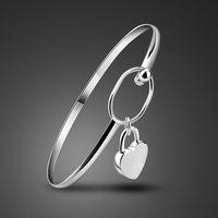 Wholesale sterling silver solid bangles - New 2017 Solid 925 Sterling Silver Bracelet girl Bangle With Fashion women Jewelry heart-shaped Lock Pendant Bracelets gift