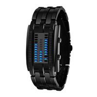 reloj binario led de acero al por mayor-Hombres Mujeres Futuras Tecnología Binario Negro Acero Inoxidable Fecha LED Pulsera Relojes Deportivos