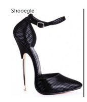 damen schwarze tanzpumpen groihandel-Sexy Schwarz Schnalle Spitzschuh Metall 16 CM Thin High Heel Frauen Pumps Stiletto High Heels Party Tanz Nachtclub Dame schuhe