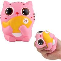 рыбы игрушки бесплатно оптовых-Розовый Squishies животных кошка рыба Каваи болотистый игрушка моделирование довольно медленно растет аромат отскок DHL бесплатная доставка SQU040