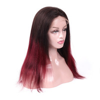 Wholesale red lace front wig human hair online - T1B J Lace Frontal Wig Virgin Human Hair Lace Front Wigs Red Lace Wig J Silky Straight for Black Women quot quot