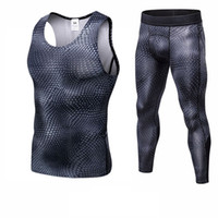 Wholesale tight yoga pants men online - Fitness Tight Sport Suit Men Sleeveless Shirt Pant Men s Running Set Compression Gym Clothing Quick Dry Men s Sportswear
