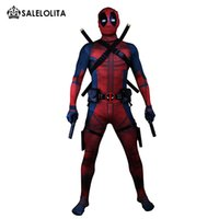Wholesale deadpool costume adults online - Clothes Equipment Deadpool Costume Adult Man Cosplay Deadpool Costumes Wade Wilson Spandex Lycra Nylon Zentai Bodysuit Hallowee