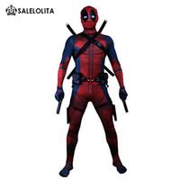 deadpool zentai toptan satış-(Giysi + Ekipman) Deadpool Kostüm Yetişkin Adam Cosplay Deadpool Kostümleri Wade Wilson Spandex Likra Naylon Zentai Bodysuit Hallowee