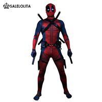 deadpool costume achat en gros de-(Vêtements + équipement) Costume Deadpool Adulte Homme Cosplay Costumes Deadpool Wade Wilson Body en Lycra Nylon Zandai Spandex de Hallowee
