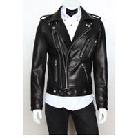 gündelik kıyafet toptan satış-Erkek Motosiklet PU Deri Konfeksiyon Rahat akın erkek Giyim Ceket Erkekler Çok fermuar İnce PU deri tasarım yaka tops