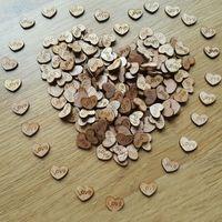 ingrosso decorazione del partito di matrimonio-Tavolo in legno rustico Love Heart Scatter Confetti in legno Articoli per feste Matrimonio Decorazioni di nozze Mestieri Carta 500 pz / borsa
