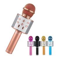 ingrosso lettore karaoke di usb-WS-858 Wireless Bluetooth Karaoke Microfono palmare USB KTV Player Bluetooth Mic Speaker Registra microfoni musicali