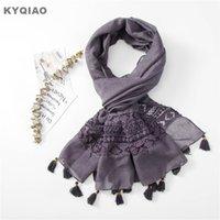 hijab moda de encaje al por mayor-KYQIAO Lace hijab bufanda para mujer otoño primavera ESTILO DE ESPAÑA moda bohemia larga de encaje bufanda hueca bufanda pañuelo para el cuello