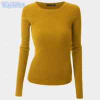 Wholesale Animal Print Essentials - Women Sweater Pullover Basic Knitted Tops Solid Crew Neck Essential Jumper Long Sleeve Ribbed Sweaters Autumn Winter