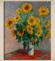 Wholesale sunflower abstract art paintings resale online - Claude Monet vase of sunflowers Hand painted Impressionist Landscape Art oil painting On Canvas Home Deco Wall Art l144