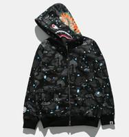 Wholesale mens v neck fleece - Mens Sportwear Coat Jogger Tracksuit Pullover Fleece Sweatshirt Black Hip Hop Hoodie Men Shark mouth Luminous Coat