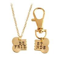 çocuklar gümüş takı setleri toptan satış-2 adet / takım Altın Gümüş Renk Köpek Kemik Best Friends Charm Kolye Anahtarlık Kadın Erkek Çocuklar için BFF Kemikleri Dostluk Festivali Hediye takı