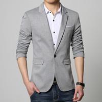 Wholesale slim dresses korea - Mens Korea Slim Fit Fashion Blazers Suit Jacket Male CasualPlus size M-5XL Coat Wedding dress Black Silver Beige Wine Red
