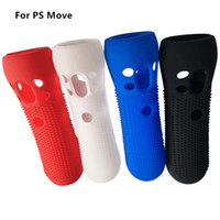 Wholesale skins move online - Anti Slip Protective Soft Skin Silicon Rubber Case for PS Move Black White Blue Red color available in Stock