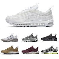 Wholesale Bullets Light - (With Box) New Air 97 Og Undftd Undefeated Triple white Running shoes OG Metallic Gold Silver Bullet Mens trainer Women sports sneakers