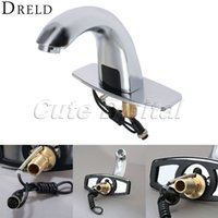 Wholesale Automatic Tap Sensor - Wholesale-Automatic Electronic Hands Free Bathroom Faucet Basin Cold Water Touchless Mixer Sensor Tap Infrared Brass Basin Sensor Faucet