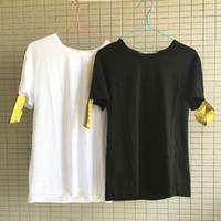 Wholesale Hip Hop Tassels T Shirt - Men womens Off Ribbon Embroidery T Shirt Summer Sports Short Sleeves Casual Tops Hip Hop Skateboard White Cotton T Shirts