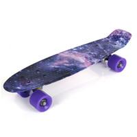 Wholesale led skate wheels - 22 inch Stars Pattern Four-wheel Long Skateboard PP Plastic Board Deck Skate Long Board Graphic Galaxy Complete Boy Girl Led Light