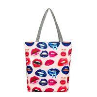 bolsa de labios tote al por mayor-Labios Impreso Lienzo Tote Casual Mujer Apliques Bolsos de playa Compras de mujeres Bolso de hombro Bolso de uso diario Bolsos para barato